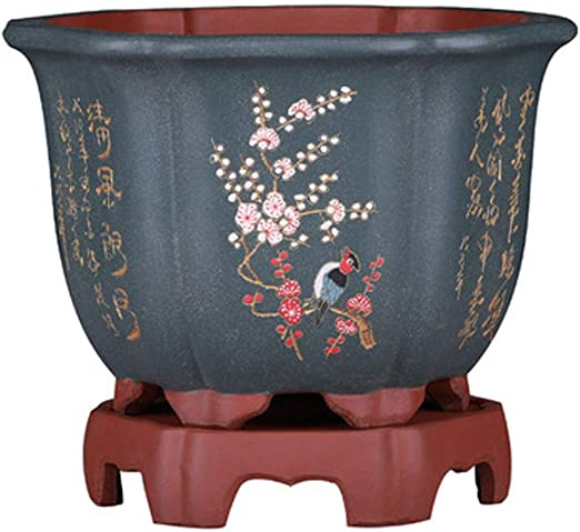 Maceta de flores de arena morada, bonsái, pintada a mano por ...