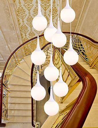 Luces colgantes de luces múltiples 10 luces LED de escalera doble Escalera de caracol Bombillas de vidrio lámpara larga para escaleras: Amazon.es: Iluminación