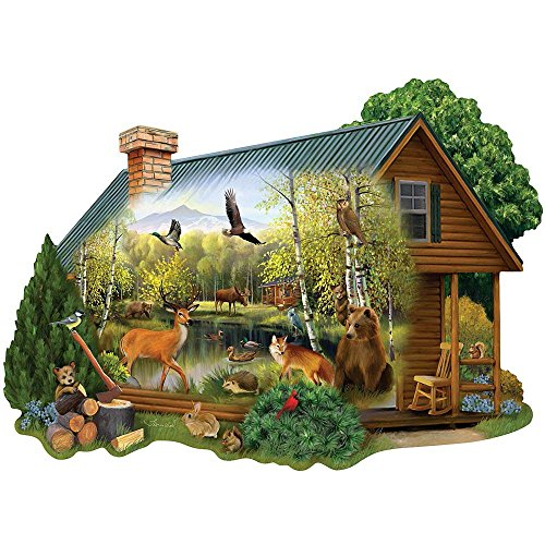 1000 Piece Shaped Jigsaw Puzzle - Bits and Pieces - 750 Piece Shaped Jigsaw Puzzle for Adults - Cabin in the Wild - 750 pc Forest Animals Jigsaw by Artist Thomas Wood