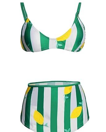 224f997b88dac Gocgt Women s Lemon Print High Waist Two Piece Bikini Swimsuit L ...