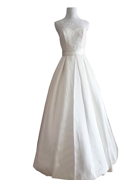 encaje primicia Elegante una línea de satén y vestido de novia barato (36, blanco
