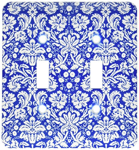 3dRose lsp_151455_2 Royal Blue and White Damask Pattern Styl