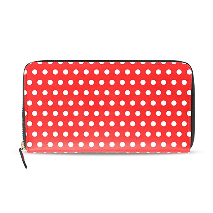 96040924acec Women Wallet White Dots travel purse and wallet leather at Amazon ...