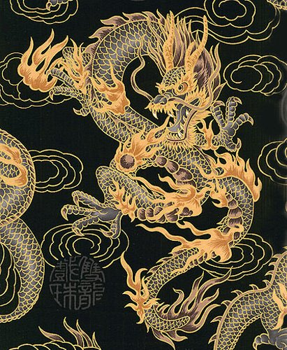 Asian Fabric Oriental - Asian Japanese Fabric: Fire-breathing Dragons - Black (1 Yd Increments)