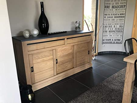 Chalet Buffet Commode Enfilade Chene Massif 3 Portes Coulissantes