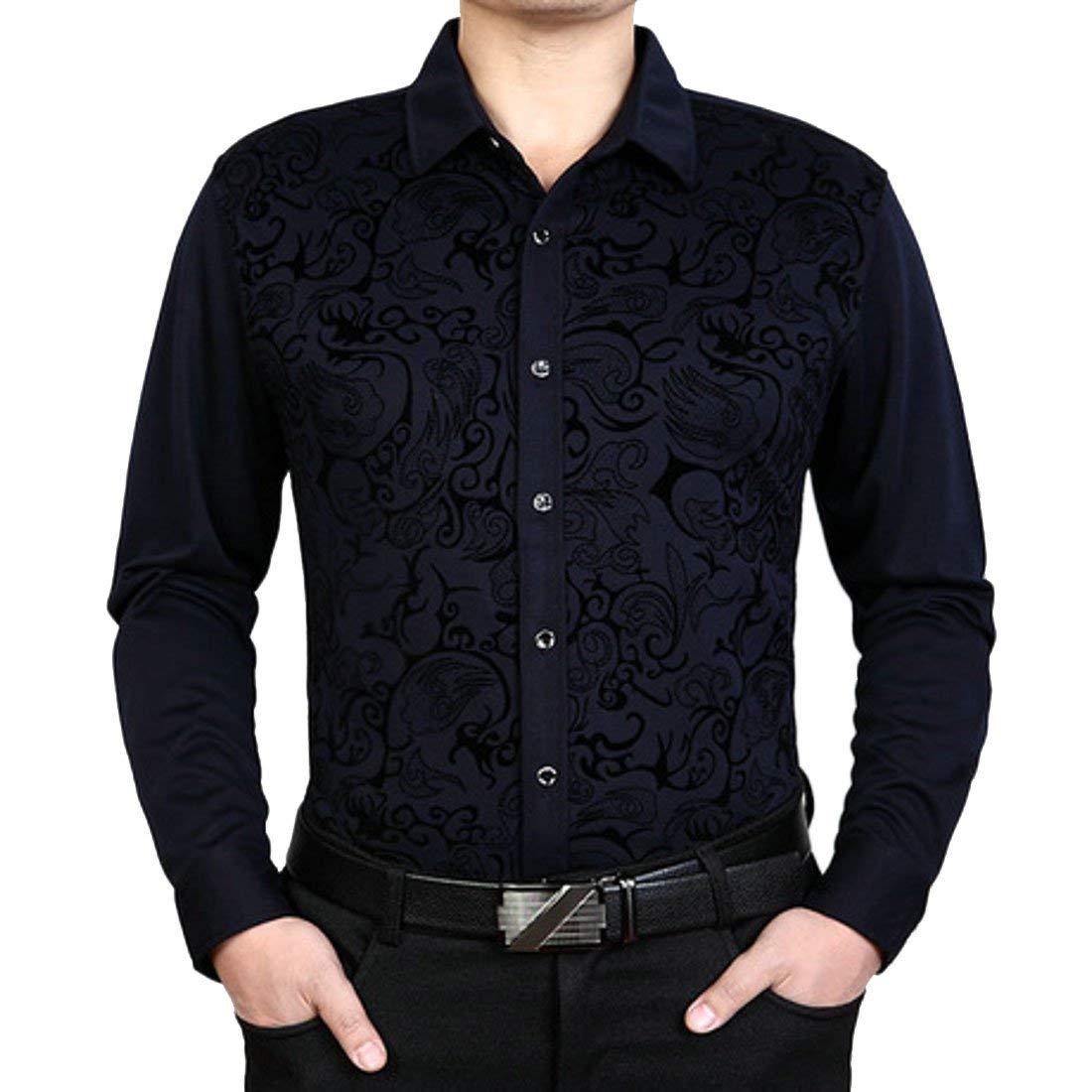SELX Men Plus Size Plus Size Autumn Thicken Long Sleeve Print Button Up Cotton Fleece Shirt