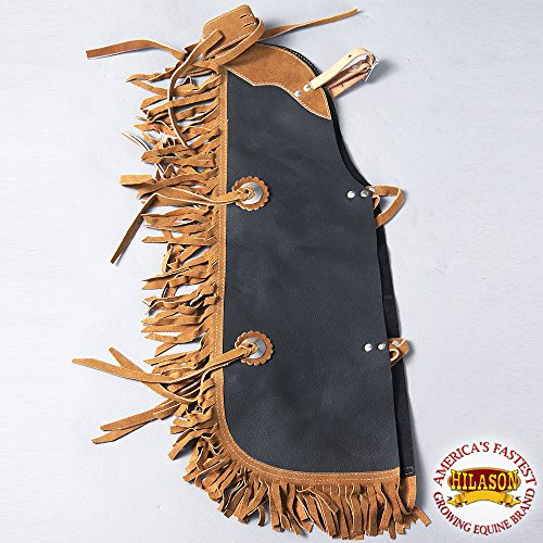 HILASON CCH904 WESTERN LEATHER KIDS JUNIOR YOUTH PRO RODEO BULL RIDING CHAPS - Bull Riding Chaps