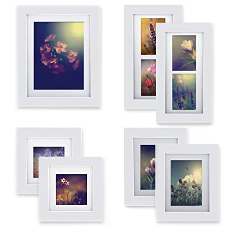 GALLERY PERFECT 7 Piece White Wood Photo Frame Wall Gallery Kit #13FW2901.  Includes: