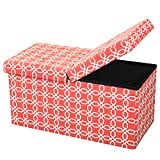 Otto & Ben 30″ Storage Ottoman – Folding Toy Box Chest with Smart Lift Top, Mid Century Upholstered Ottomans Bench Foot Rest, Octagon Orange Review