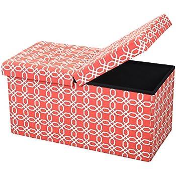 Amazon.com: Double Seat Leather Folding Storage Ottoman Bench 30\