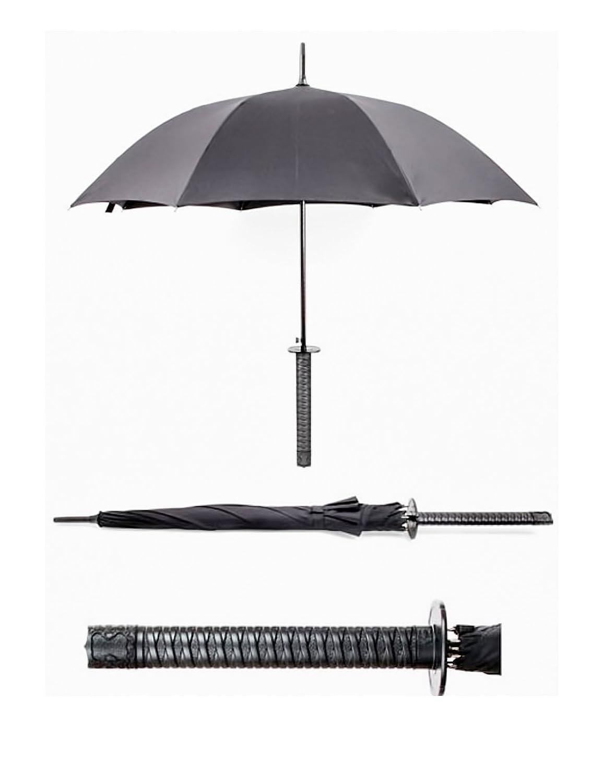 Regenschirm, Schirm mit langem Samurai–Griff, Samurai–Schwert, Farbe: schwarz Samurai–Schwert