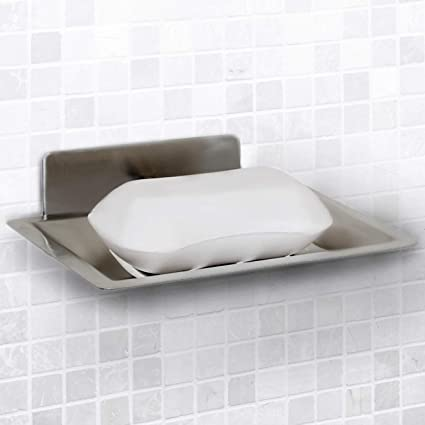 Vila Self Adhesive Soap Holder Wall Mounted Shower Dish Self Draining Sponge