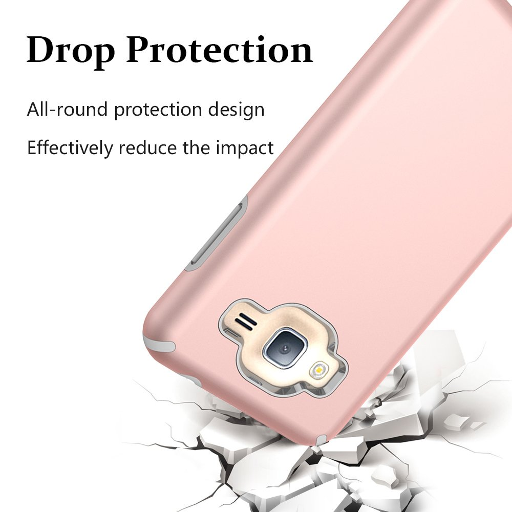 Galaxy J3 Case, J3 (2016) Case, MagicSky Slim Corner Protection Shock Absorption Hybrid Dual Layer Cover For Galaxy J3, J3 (2016), J3 V, Express Prime, Amp Prime, Galaxy Sol, Galaxy Sky (Rose Gold)