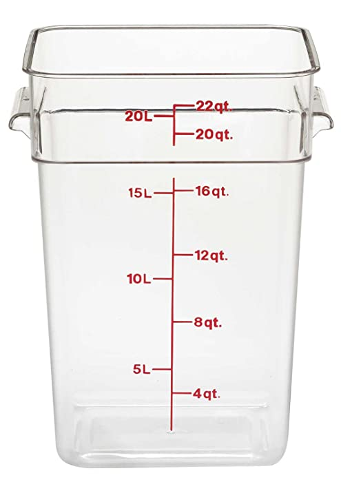 Cambro 22SFSCW135 Camwear Polycarbonate Square Food Storage container, 22 Quart Clear