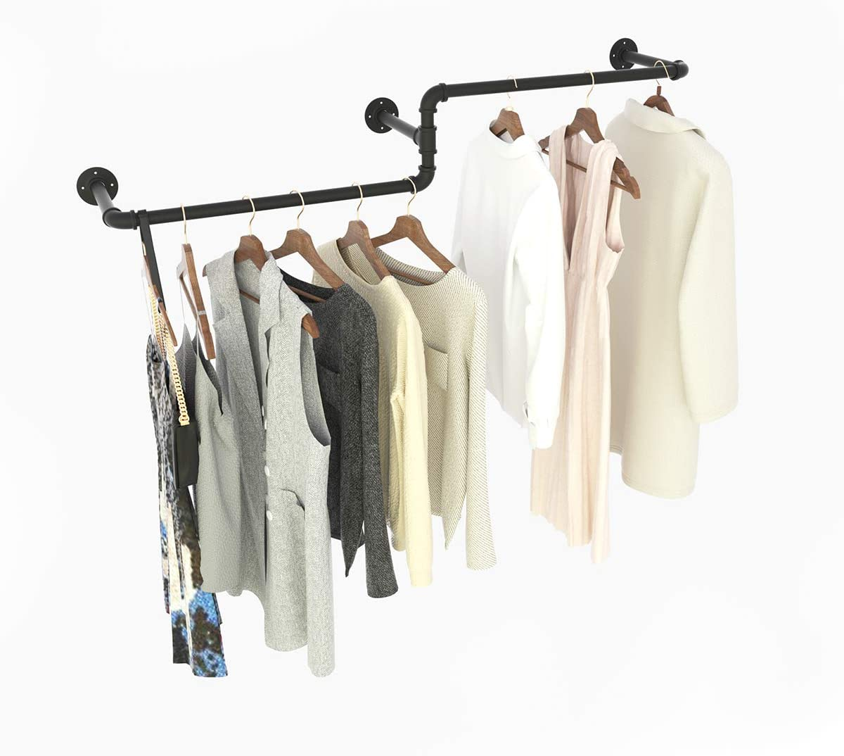 """MDEPYCO Industrial Pipe Wall Mounted Towel Clothing Hanging Shelves System,Vintage Laundry Room Rod,Metal Garment Rack for Clothes Retail Display (Black, 47"""" L)"""