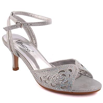01b86490009 Unze Women  Frawn  Diamante Embellished Ladies Open-Toe Mid low Stiletto  Heel Cut