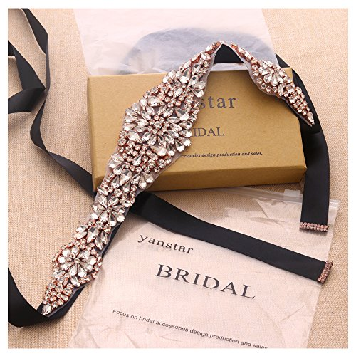 edding Belts With Crystal In Rose Gold For Bridal Dress Hand Bridal Belts-13.4In2In (Black Hand Cut Crystal)