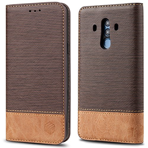 Marvel Luxury Series - For Huawei Mate 10 Pro Case,WenBelle[Blazers Series] Stand Feature, Premium Soft PU Color matching Leather Wallet Cover Flip Cases For Huawei Mate 10 Pro (Brown)