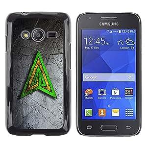 TopCaseStore / la caja del caucho duro de la cubierta de protección de la piel - Green Yellow Triangle - Samsung Galaxy Ace 4 G313 SM-G313F