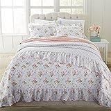 #1: Brylanehome Rose Ruffle Bedspread (White Pink,Twin)