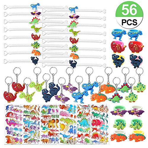 56 Pcs Dinosaur Party Favors Dinosaur Keychains Stickers Rings Bracelets Toys Prizes Gift Carnivals for Kids Boys Birthday Party Favor Supplies Goodie Bag Fillers
