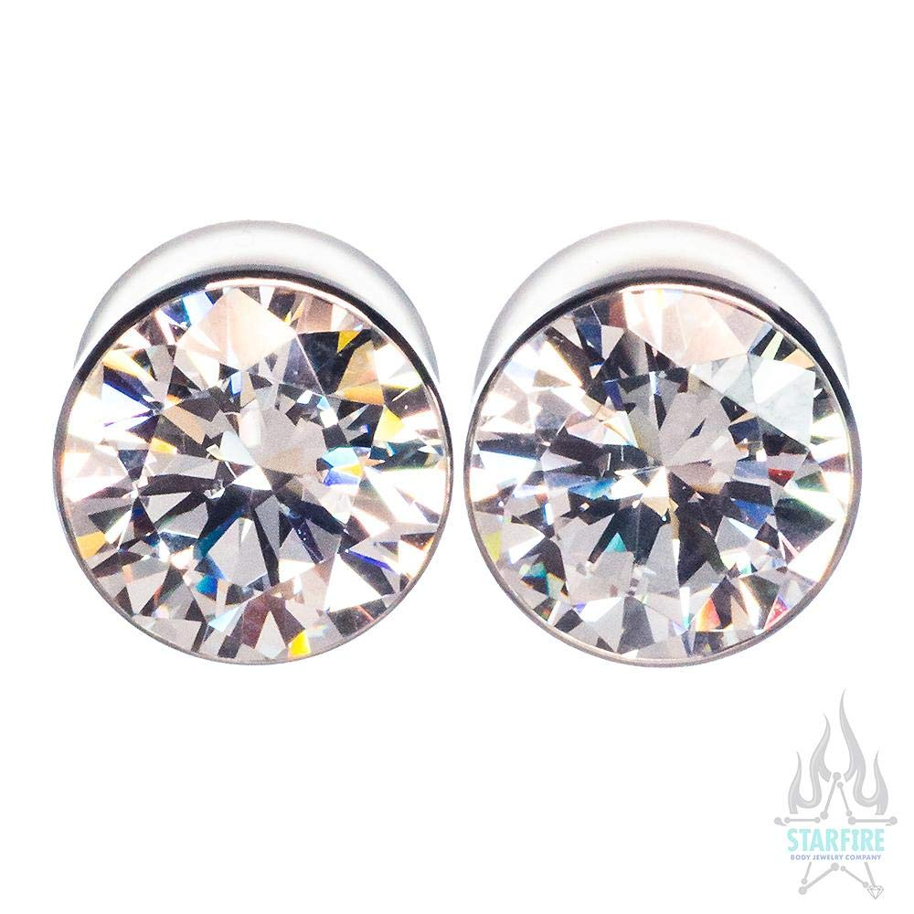 Anatometal Single Stone CZ Big Bling Plugs (Eyelets) - Brilliant Cut, 7/8'' Double-Flared