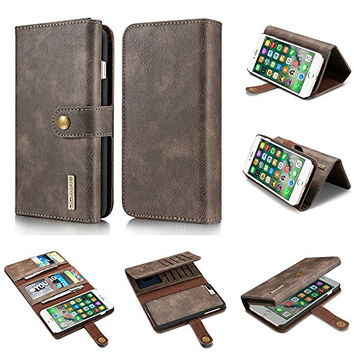 Genuine Cowhide (iPhone 7 Wallet Cases,iPhone 8 Plus Case,DG.MING Vintage Genuine Cowhide Leather Case for Apple iPhone 7/8 plus with Detachable SlimCase[15 Card Slots][Magnetic Closure][Folio Flip Cover](Grey))