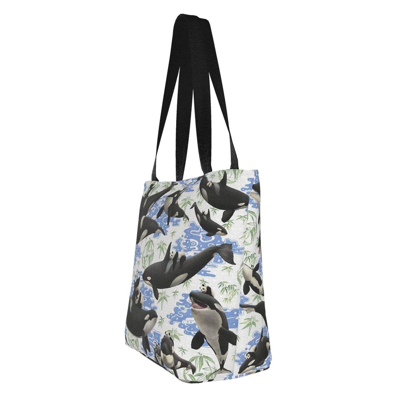 Jultid nötknäppare kvinnor stor storlek kanvas axelväska hobo crossbody handväska ledig bärkasse Whales