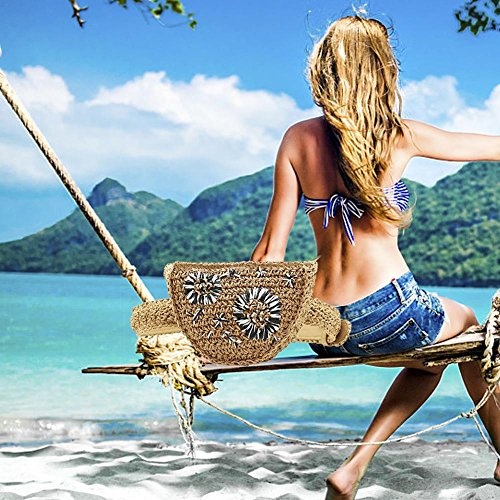 Design Fanny Pack Embroidery Bolso Flower Handmade Bag Waist Samber Beach Black Straw amp;white Grass Sand Summer Bag Bag Waist Travel Women Belt 7qwvFPtxnF