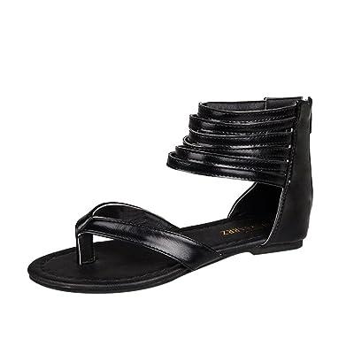 ????✿☀Sandales Plates Romaines????✿☀Lolittas Noir Marron Blanc Femmes Zipper Rome Strappy Gladiateur Low Flat Tongs Plage Sandales Chaussures