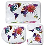 3 Piece Bath Mat Rug Set,Watercolor,Bathroom Non-Slip Floor Mat,Multicolored-Hand-Drawn-World-Map-Asia-Europe-Africa-America-Geography-Print-Decorative,Pedestal Rug + Lid Toilet Cover + Bath Mat,Multi
