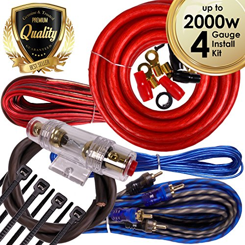 Complete 2000W Gravity 4 Gauge Amplifier Installation Wiring Kit Amp PK2 4 Ga Red - For Installer and DIY Hobbyist - Perfect for Car / Truck / Motorcycle / RV / ATV - Gravity Kit