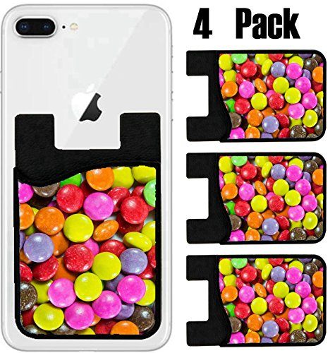 MSD Phone Card holder, sleeve/wallet for iPhone Samsung Android and all smartphones with removable microfiber screen cleaner Silicone card Caddy(4 Pack) IMAGE ID 26375085 Close up of a pile of colorfu by MSD