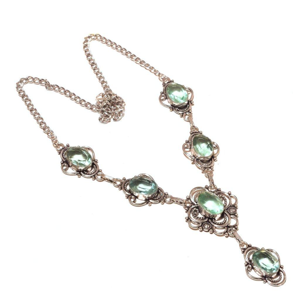 Handmade Blue Topaz Quartz Sterling Silver Overlay Necklace 17-18 Latest Design