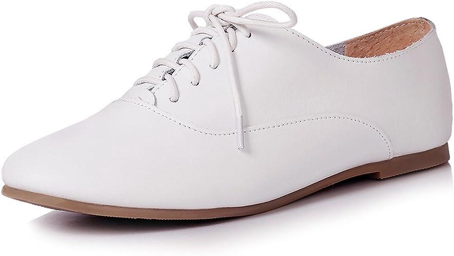 XTIAN Zapatos Planos con Cordones Mujer, Color Blanco