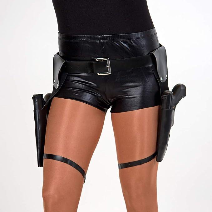 Amakando Estilizado cinturón de Pistolas Doble SWAT / Negro 120cm ...