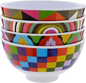 """French Bull Melamine Mini Bowl, 4-Piece Set, 10 Fluid Ounces, Small Serving Bowl – Snack, Condiment, Dip, Dessert, Ice Cream, Kids – Shatter Proof, Food-Safe, BPA Free, Dishwasher Safe, 4"""", Graphic"""