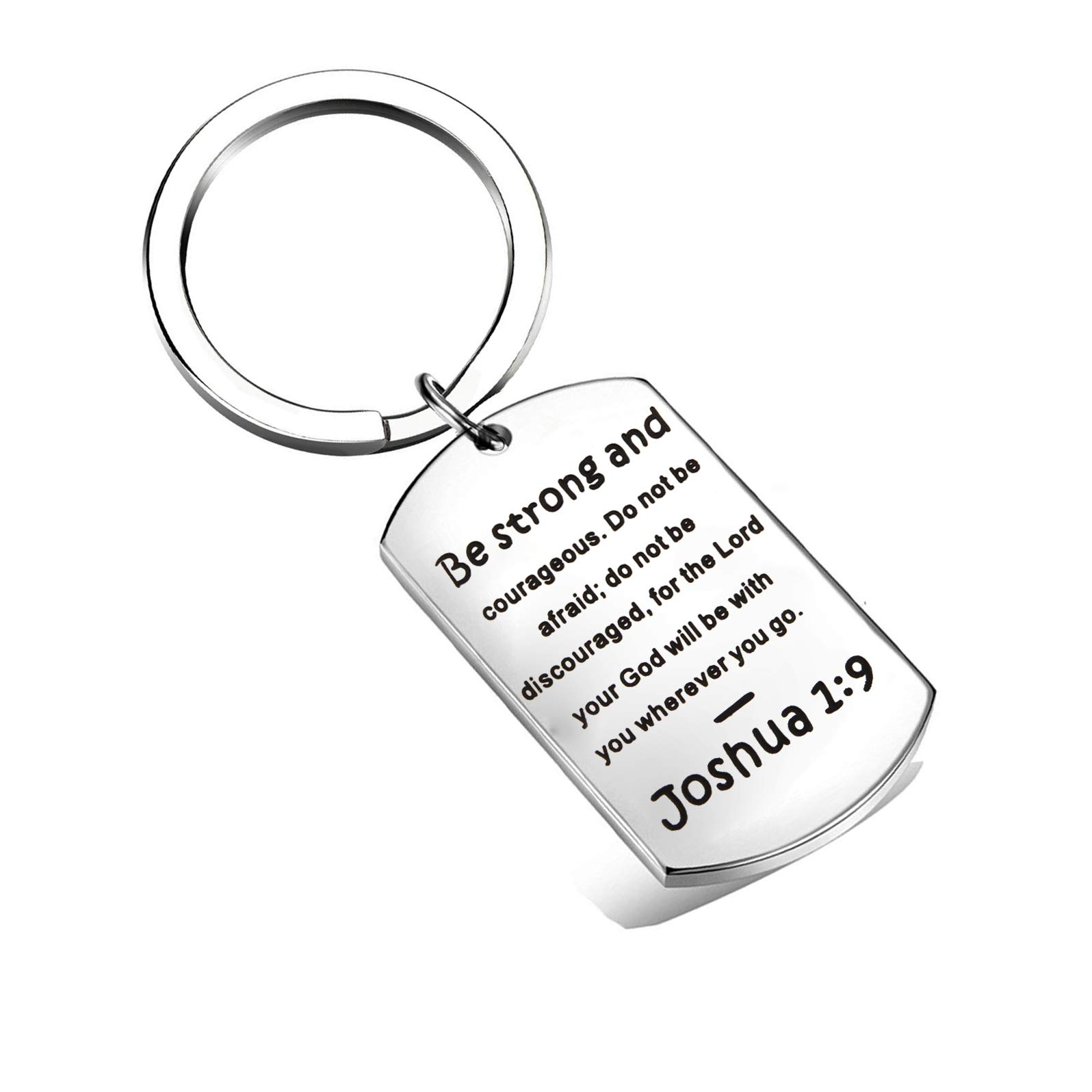 QIIER Christian Keychain Be Strong and Courageous Joshua 1:9 Bible Verse Dog Tag Pendant Keychain Religious Jewelry Inspirational Gifts(Joshua 1:9 Dog Tag) by QIIER