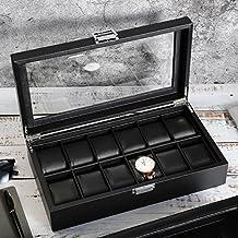 SWEETV Watch Box for Men - 12 Slot PU Leather Watch Display Case Storage Organizer, Large Holder, Glass Top, Black