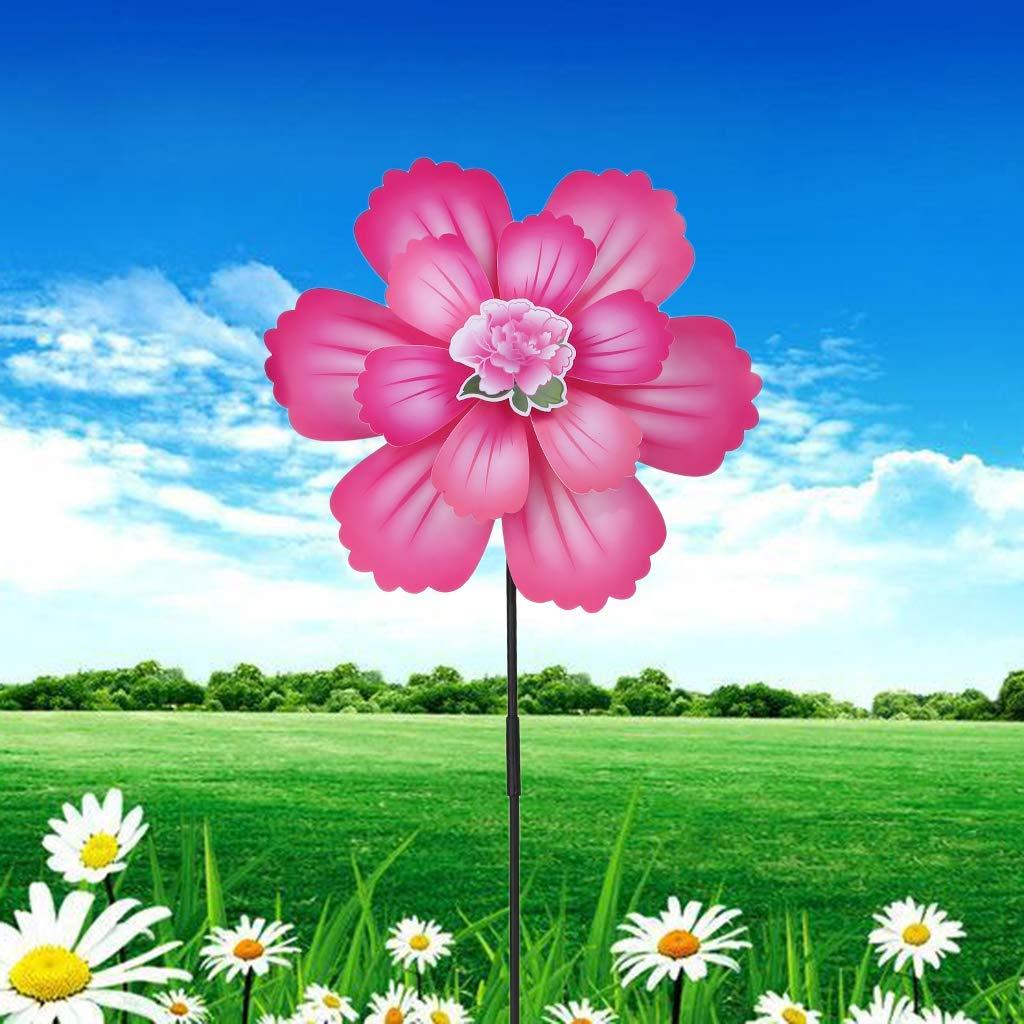 Ogquaton Wind Spinner Due strati di fiori colorati Girandola Mulino a vento per bambini Giocattoli per bambini Decorazione per feste in giardino 1pc Colore casuale Creativo e utile