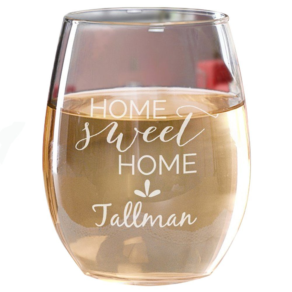 GiftsForYouNow Personalized Home Sweet Home Stemless Wine Glass