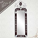 IndianShelf Handmade Vintage Decorative New Design Clear Glass Wood and Iron Long Venetian Mirror 46.5 Inches X 16 Inches