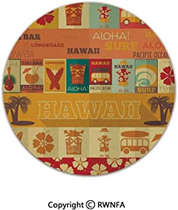 Home Decor Printed Beautiful Backing Machine Washable Carpet,Retro Travel Cards Collection Holiday in Hawaii Icons Summer Vintage Print Decorative 2' Diameter Multicolor,Fluffy Area Rugs
