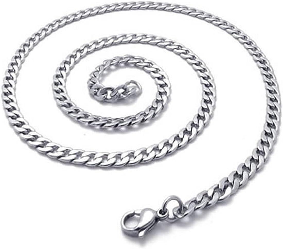 REFURBISHHOUSE Chaine a Bijouterie pour Hommes Argent Collier de Chaine de Figaro en Acier Inoxydable Largeur de 5 mm Longueur de 45 cm