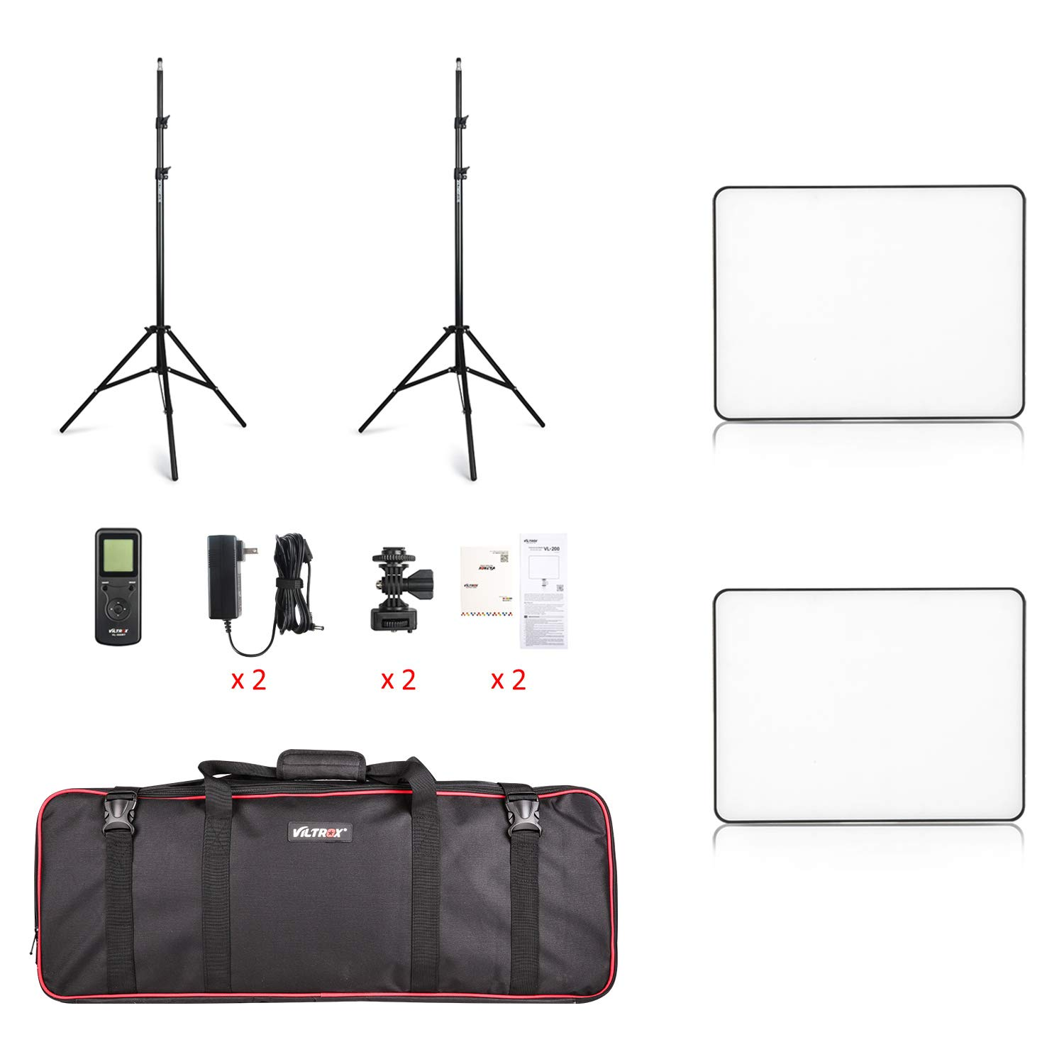 VILTROX 2-Pack VL-200 3300K-5600K CRI95 Super Slim LED Video Light Panel Photography Lighting Kit with Light Stand, Hot Shoe Adapter, Remote Controller, AC Adapter for YouTube Studio Video Shooting by VILTROX (Image #8)