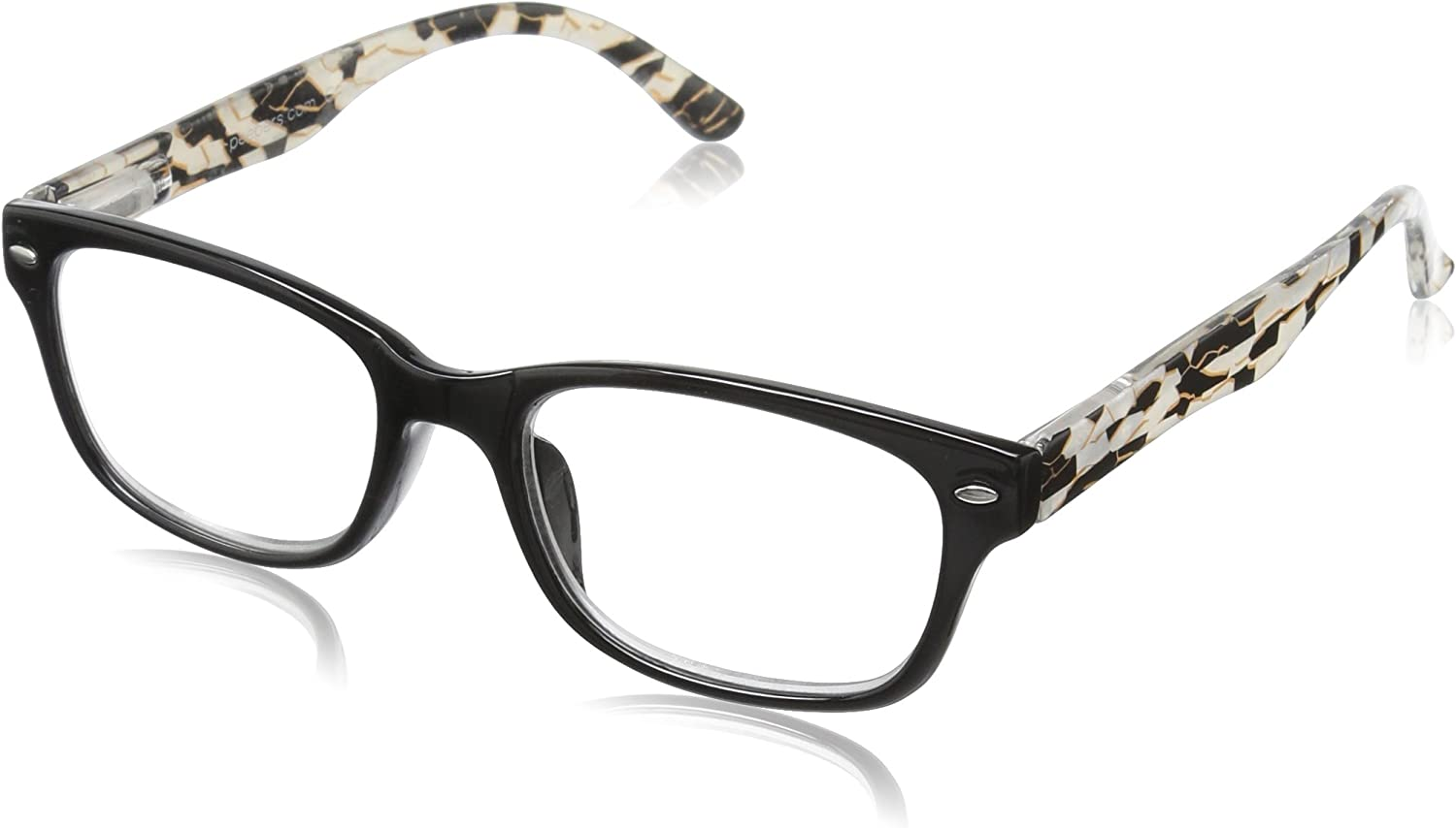 Peepers by PeeperSpecs Women's Soho Rectangular Reading Glasses, Black, 51 mm + 2.25