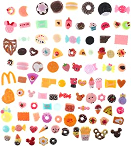 Qingsi 50 Pcs Resin Cake Flatback Food Cabochons Slime Charms Embellishments for Scrapbooking Phone Case Decoration DIY Hair Bow