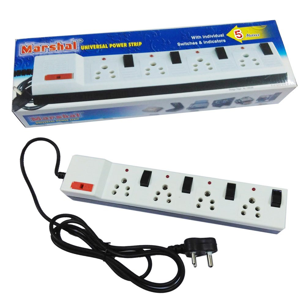 Marshal 5 Metres Universal Power Strip With Fuse Individual Electrical Wiring Switches And Indicators Home Improvement