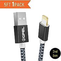 Cable Lightning para iPhone, GPEL Cable magnético fácil con un solo toque, Paquete con un cable USB de 1.5 m de nailon trenzado  para iPhone X, 8, 8Plus, 7, 7Plus, 6, 6S, 6Plus, 6s Plus, 5S, 5C, iPad, iPod y más., 1-Pack
