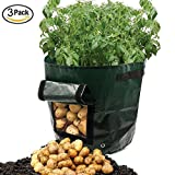 YINUOWEI 3 Pack 7 Gallon Garden Potato Grow Bag Vegetables Planter Tub with Access Flap for Potato, Carrot & Onion (PE Material)